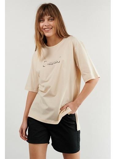 Levure Oversize Baskılı T-Shirt Bej